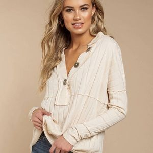Free People In the Mix Ribbed Henley Top Size S